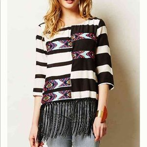 Anthropologie Floreat Fringed Latitudes Top Tunic